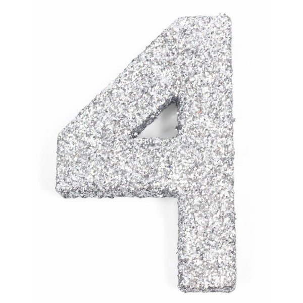 "8"" Silver Glitter Number 4, Large Glitter Numbers, Jamboree Party Box, Jamboree"