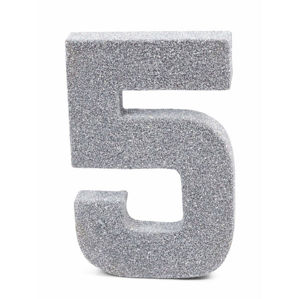 "8"" Silver Glitter Number 5, Large Glitter Numbers, Jamboree Party Box, Jamboree"