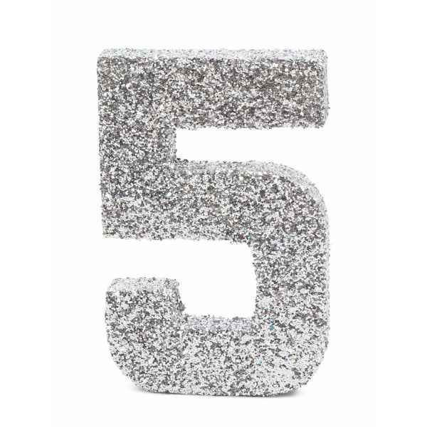 "8"" Silver Glitter Number 5, Large Glitter Numbers, Jamboree"