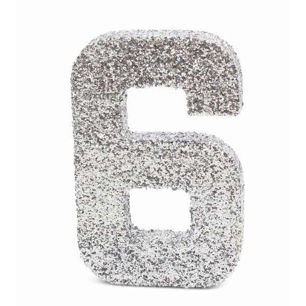 "8"" Silver Glitter Number 6, Large Glitter Numbers, Jamboree"