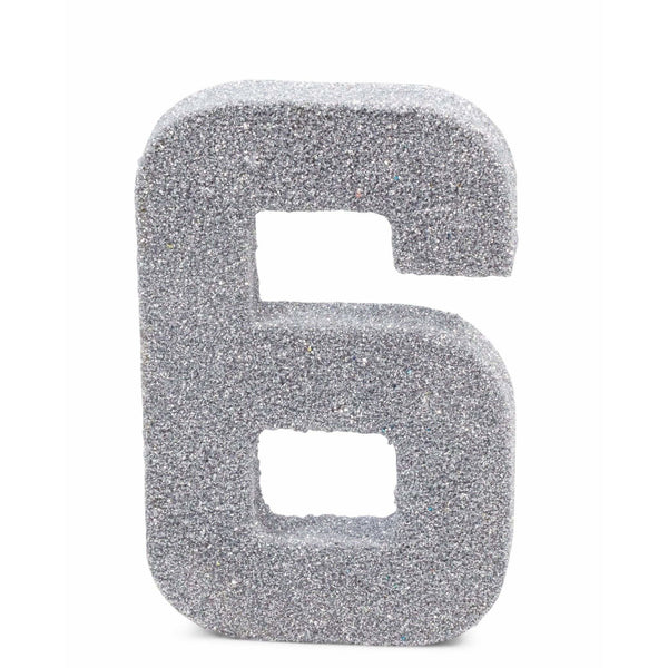 "8"" Silver Glitter Number 6, Large Glitter Numbers, Jamboree Party Box, Jamboree"