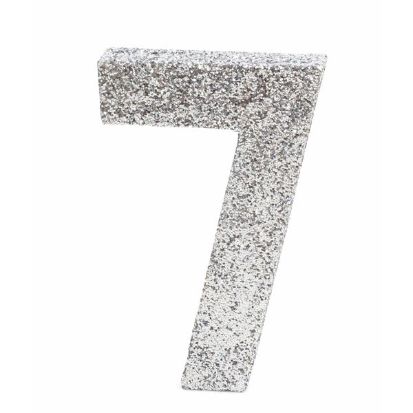 "8"" Silver Glitter Number 7, Large Glitter Numbers, Jamboree"