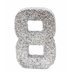 "8"" Silver Glitter Number 8, Large Glitter Numbers, Jamboree Party Box, Jamboree"