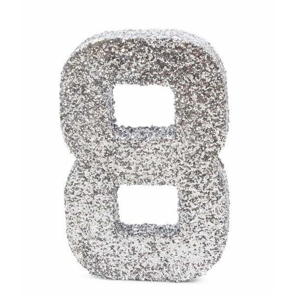"8"" Silver Glitter Number 8, Large Glitter Numbers, Jamboree"