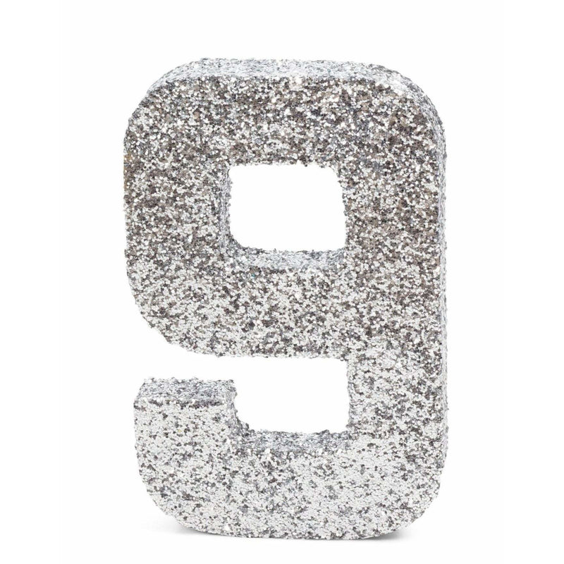 "8"" Silver Glitter Number 9, Large Glitter Numbers, Jamboree"