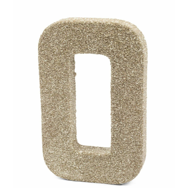 "8"" White Gold Glitter Number 0, Large Glitter Numbers, Jamboree"