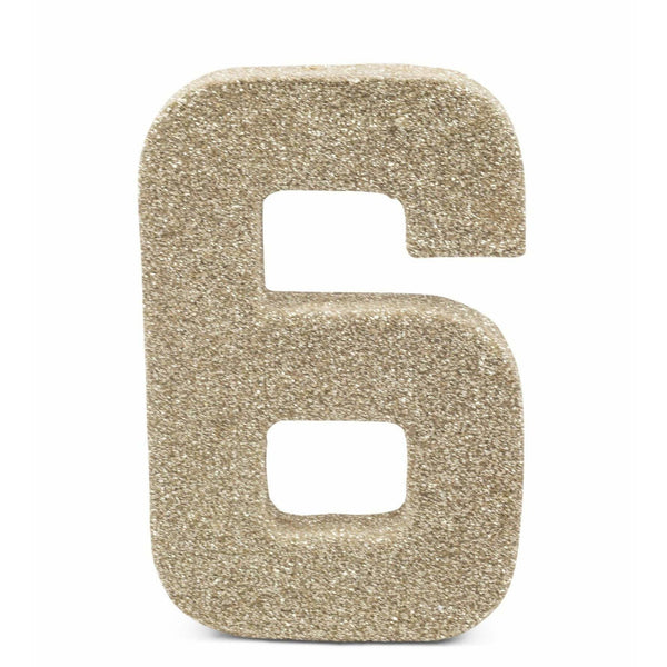 "8"" White Gold Glitter Number 6, Large Glitter Numbers, Jamboree"