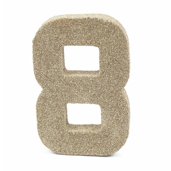 "8"" White Gold Glitter Number 8, Large Glitter Numbers, Jamboree"