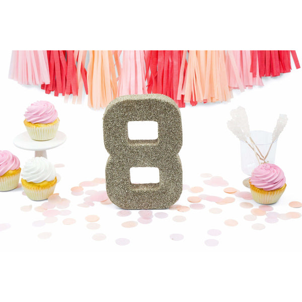 "8"" White Gold Glitter Number 8, Large Glitter Numbers, Jamboree Party Box, Jamboree"
