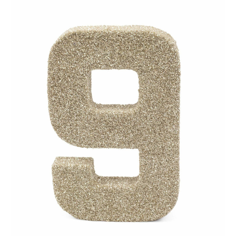 "8"" White Gold Glitter Number 9, Large Glitter Numbers, Jamboree Party Box, Jamboree"