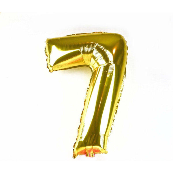 "40"" Gold Number 7 Balloon, Number Balloons, Jamboree Party Box, Jamboree"