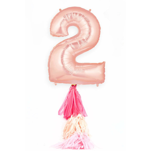 "40"" Giant Rose Gold Number 2 Balloon, Number Balloons, Jamboree Party Box, Jamboree"