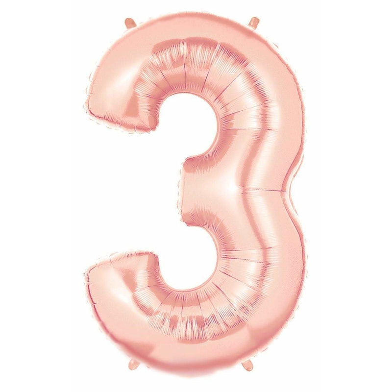 "40"" Rose Gold Number 3 Balloon, Number Balloons, Jamboree"