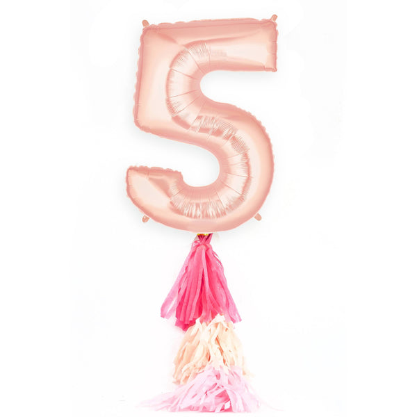 "40"" Rose Gold Number 5 Balloon, Number Balloons, Jamboree Party Box, Jamboree"