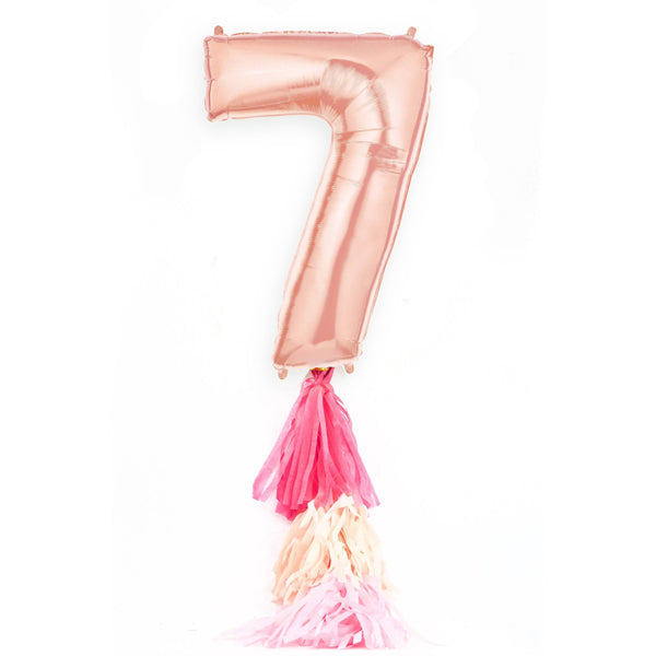 "40"" Rose Gold Number 7 Balloon, Number Balloons, Jamboree Party Box, Jamboree"