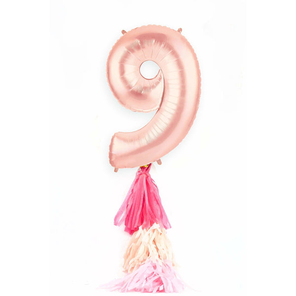 "40"" Rose Gold Number 9 Balloon, Number Balloons, Jamboree"