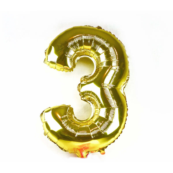 "40"" Gold Number 3 Balloon, Number Balloons, Jamboree"