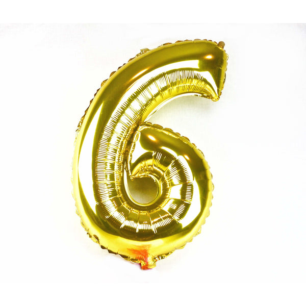 "40"" Gold Number 6 Balloon, Number Balloons, Jamboree Party Box, Jamboree"
