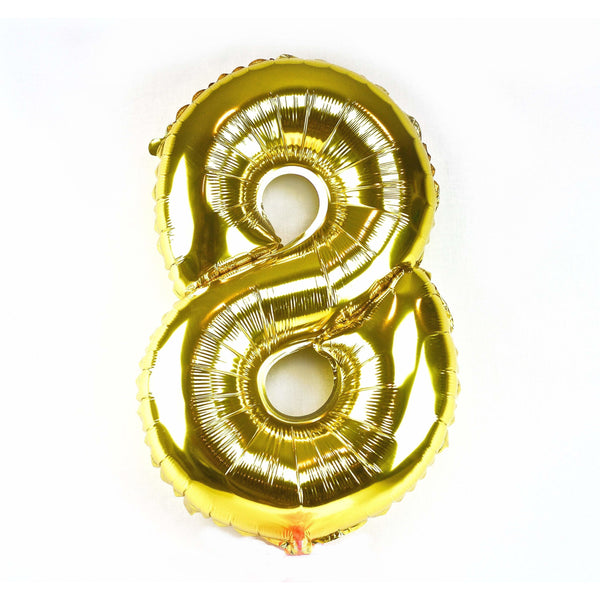 "40"" Gold Number 8 Balloon, Number Balloons, Jamboree"