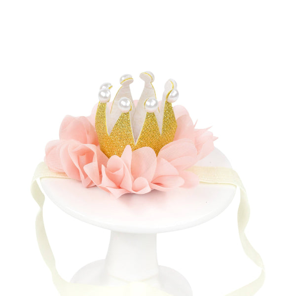 Party Hats & Sashes - Pink Mini First Birthday Photoshoot Crown