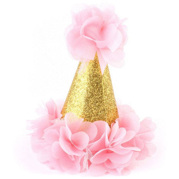 Party Hats & Sashes - Pink Mini First Birthday Photoshoot Hat