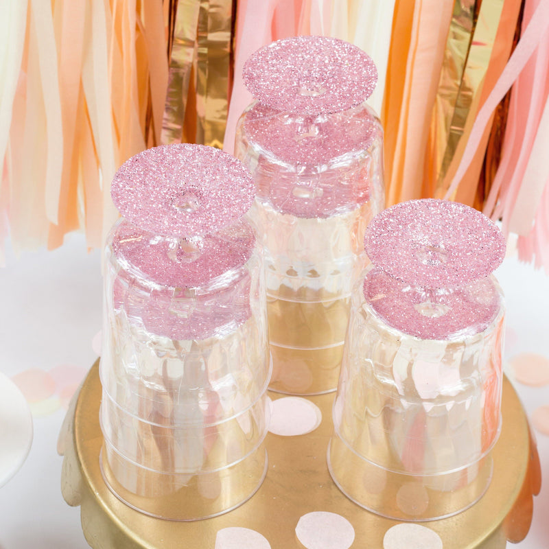 8pc Blush Pink Glitter Cup, Tableware, Jamboree