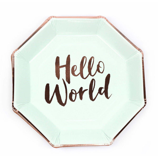 8pc Mint 'Hello World' Dinner Plate, Tableware, Jamboree Party Box, Jamboree