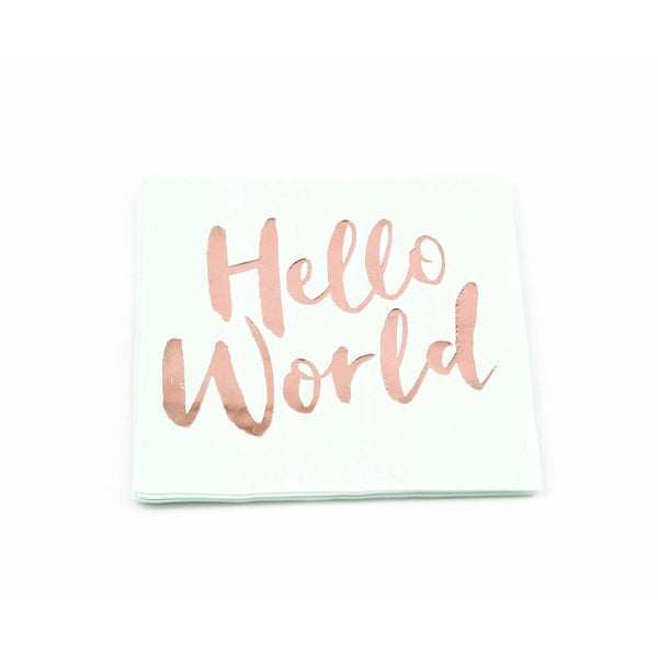 8pc Mint 'Hello World' Napkin, Tableware, Jamboree Party Box, Jamboree
