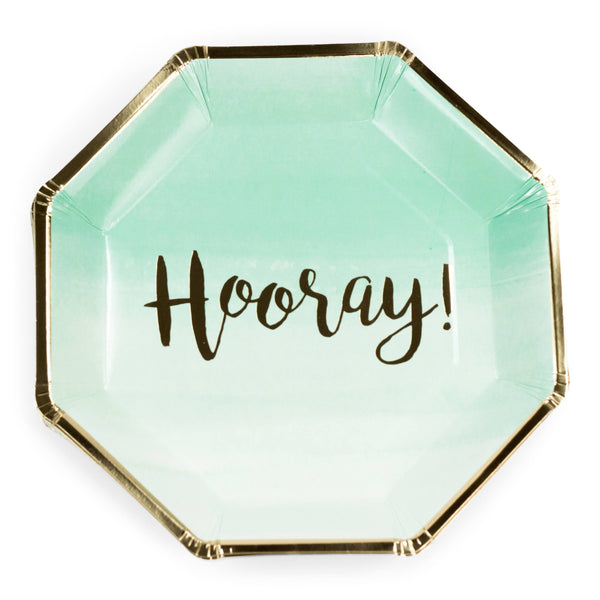8pc Mint 'Hooray' Dinner Plate, Tableware, Jamboree Party Box, Jamboree