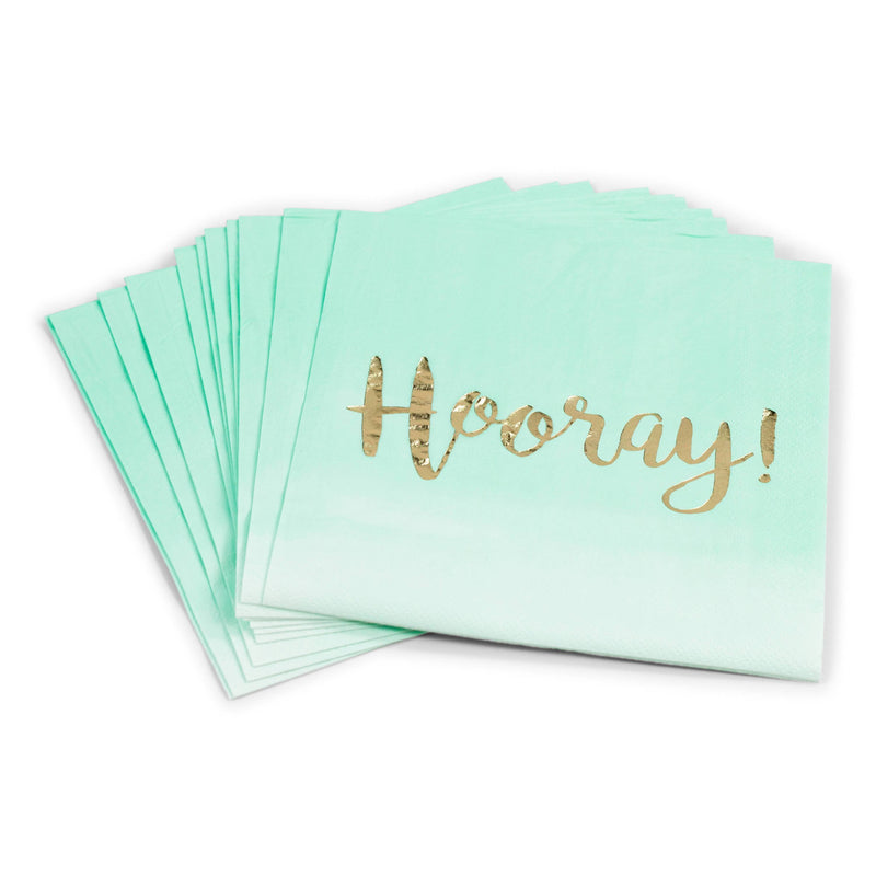 8pc Mint  'Hooray' Napkin, Tableware, Jamboree Party Box, Jamboree