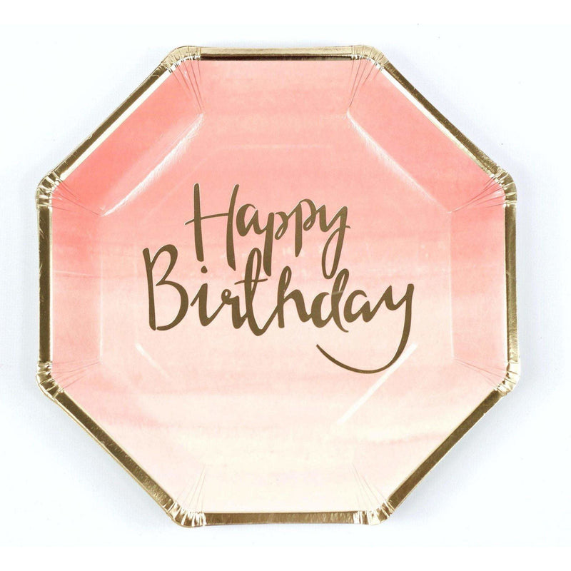 8pc Pink 'Happy Birthday' Dinner Plate, Tableware, Jamboree Party Box, Jamboree