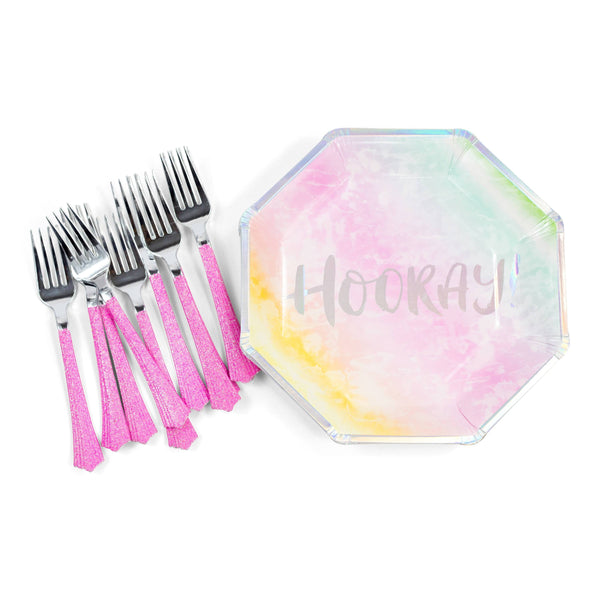 8pc Rainbow 'Hooray' Dinner Plate, Tableware, Jamboree Party Box, Jamboree