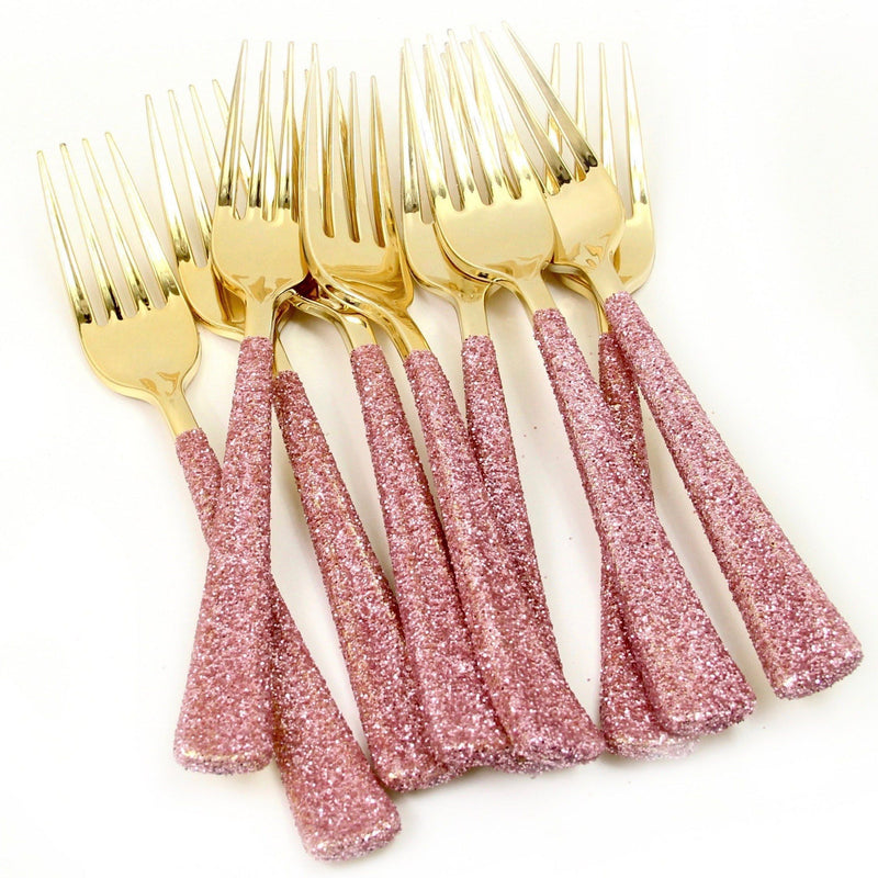 Blush Pink Glittered Gold Fork, Tableware, Jamboree Party Box, Jamboree