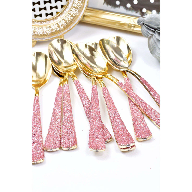 Blush Pink Glittered Gold Spoon, Tableware, Jamboree Party Box, Jamboree