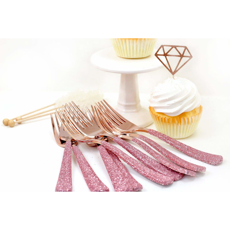 Blush Pink Glittered Rose Gold Fork, Tableware, Jamboree Party Box, Jamboree