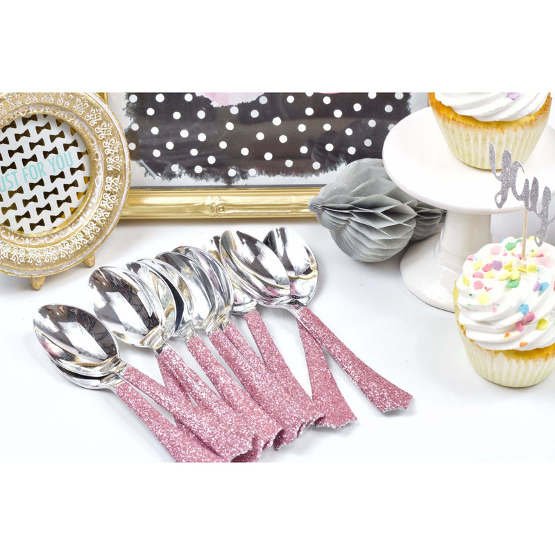 Blush Pink Glittered Silver Spoon, Tableware, Jamboree