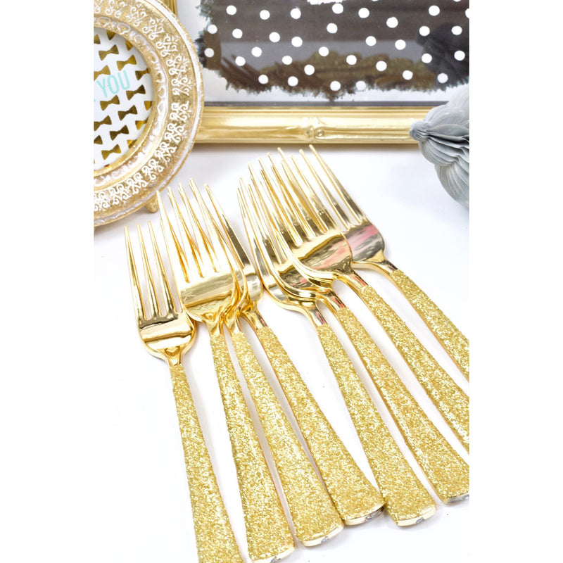 Gold Glittered Gold Fork, Tableware, Jamboree