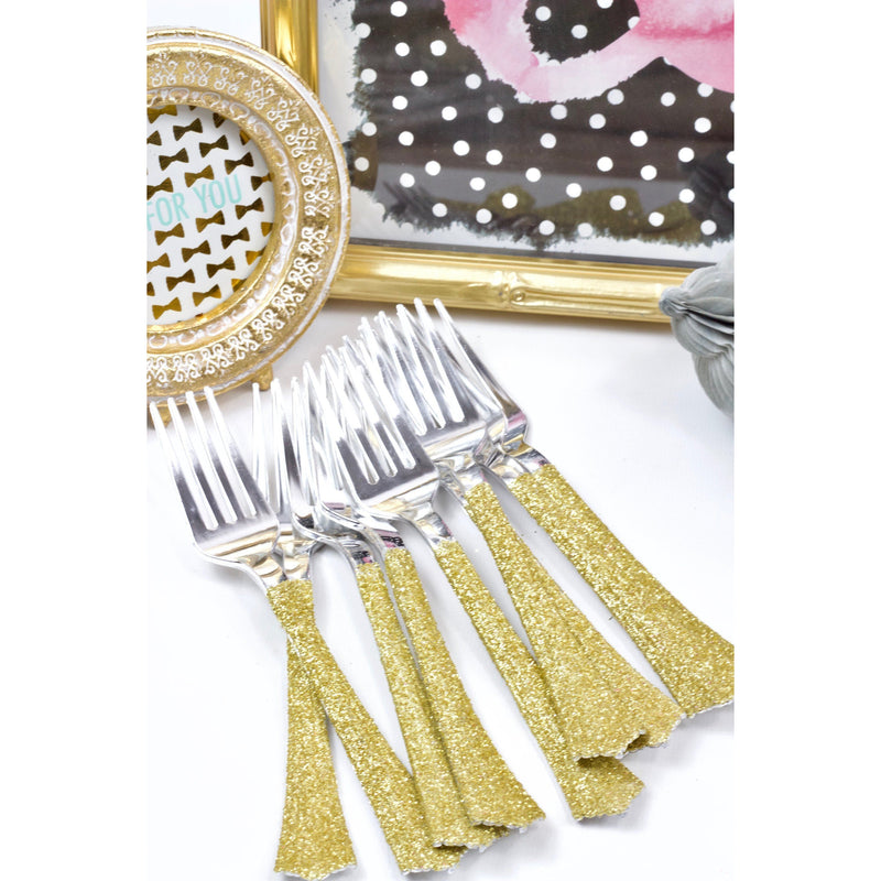 Gold Glittered Silver Fork, Tableware, Jamboree