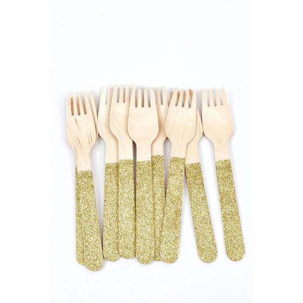 Gold Glittered Wood Fork, Tableware, Jamboree
