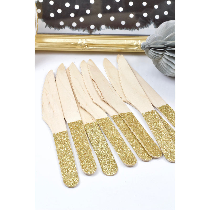 Gold Glittered Wood Knife, Tableware, Jamboree