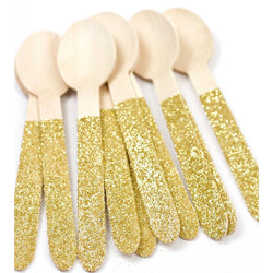 Gold Glittered Wood Spoon, Tableware, Jamboree