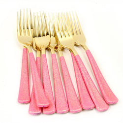 Tableware - Hot Pink Glittered Gold Fork