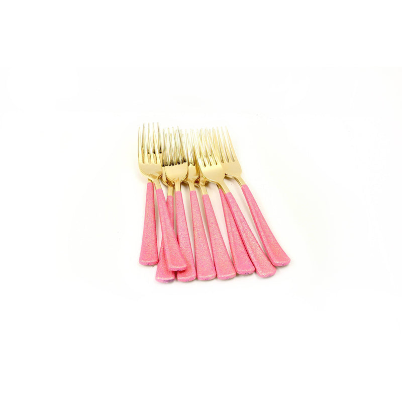 Hot Pink Glittered Gold Fork, Tableware, Jamboree