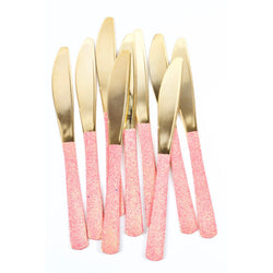Tableware - Hot Pink Glittered Gold Knife