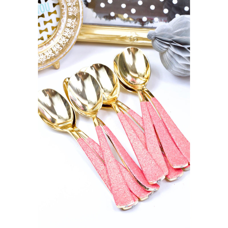 Hot Pink Glittered Gold Spoon, Tableware, Jamboree
