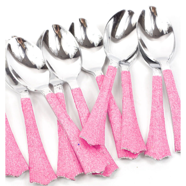 Tableware - Hot Pink Glittered Silver Spoon