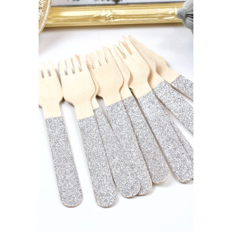 Silver Glittered Wood Fork, Tableware, Jamboree