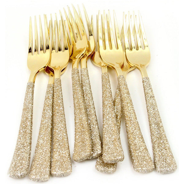 White Gold Glittered Gold Fork, Tableware, Jamboree