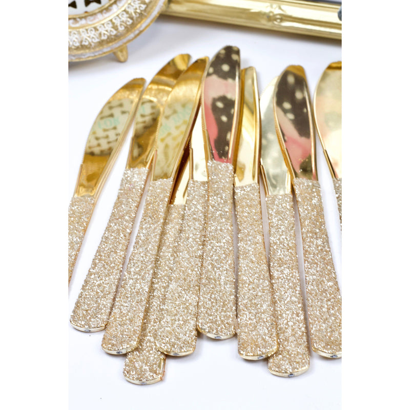 Tableware - White Gold Glittered Gold Knife