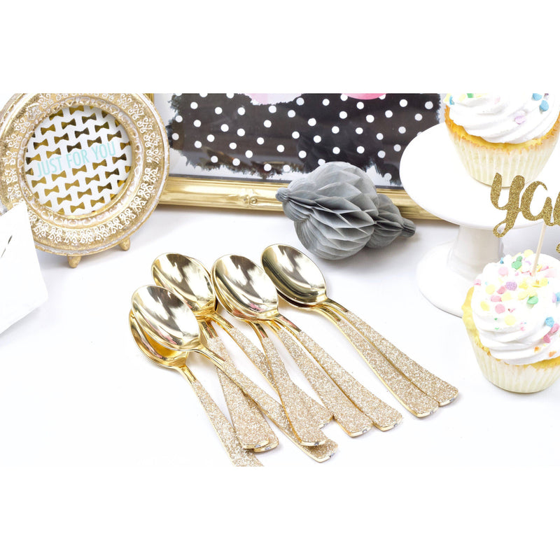 White Gold Glittered Gold Spoon, Tableware, Jamboree